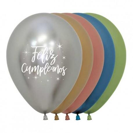 Globos R-12 (30Cm) Feliz Cumpleaños Reflex