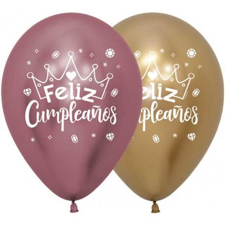 Globos R-12 Feliz Cumpleaños Reflex Coronas