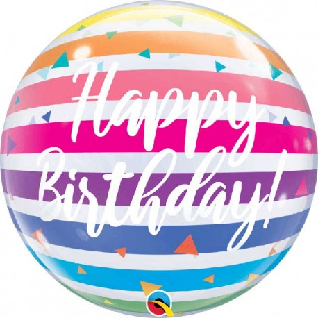 "Globos de 22"" Bubbles Birthday Rayas"