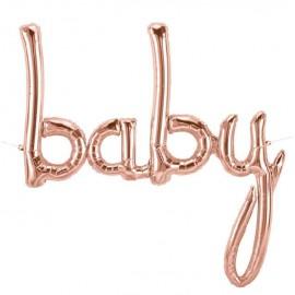 """Globos Foil de 34"""" (86Cm) Baby Rosa Dorado"""