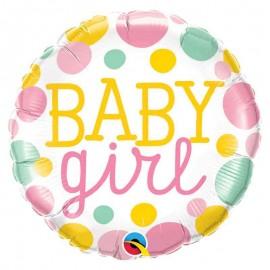 "Foil 18"" (45Cm) Baby Girl Puntos Colores"