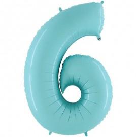 "Globos Foil 40"" (102cm) Numero 6 Azul Pastel"