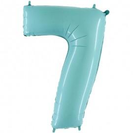 "Globos Foil 40"" (102cm) Numero 0 Azul Pastel"