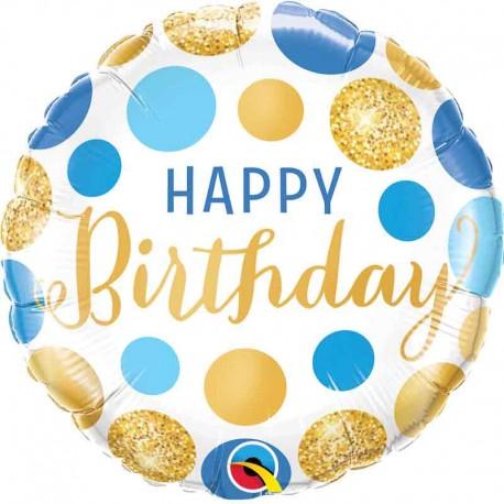 "Globos Foil 18"" Birthday Puntos Oro Azul"