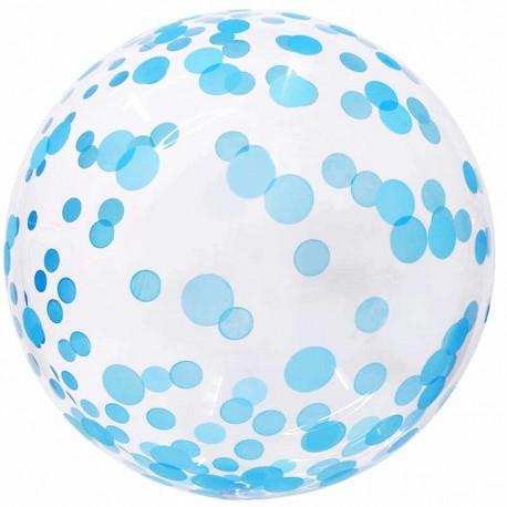 "Globos 18"" Bubble Transparente Confeti Azul"