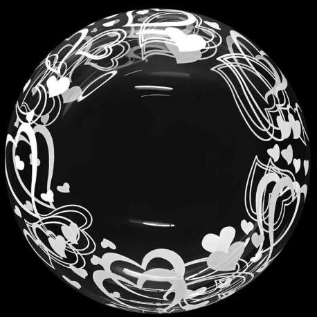 "Globos 18"" Bubble Transparente Corazoncitos"