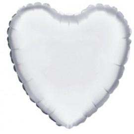 """Globos de foil Corazón de 18"""" Blanco betallic"""