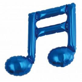 """Globos foil 9"""" Nota musical Azul Doble"""