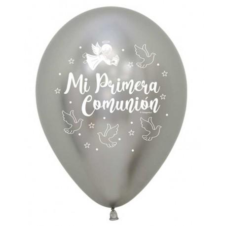 """Globos 11"""" Comunion Palomas Reflex Plata"""