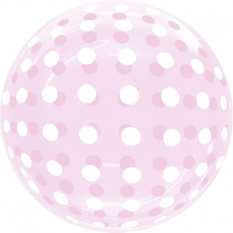 "Globos 18"" Bubble Transparente Puntos Rosa"