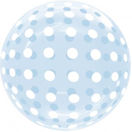 """Globos 18"""" Bubble Transparente Puntos Azul"""