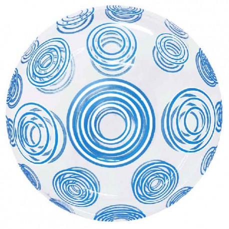 """Globos 20"""" Bubble Transparente Remolinos Azul"""