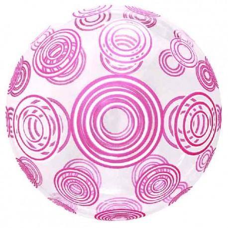 """Globos 20"""" Bubble Transparente Remolinos Rosa"""