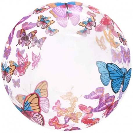 """Globos 20"""" Bubble Transparente Mariposas Multicolor"""