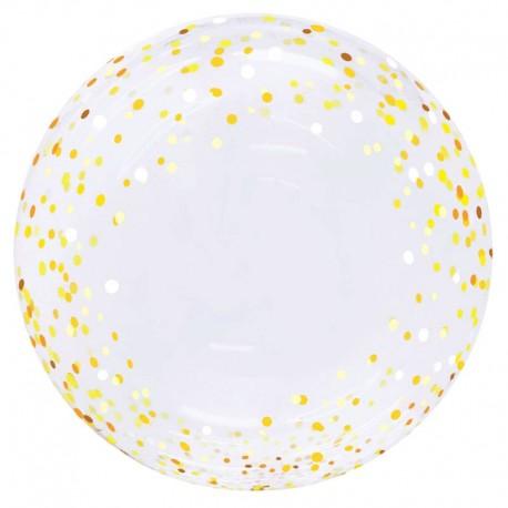"""Globos 20"""" Bubble Transparente Polka Oro Y Plata"""