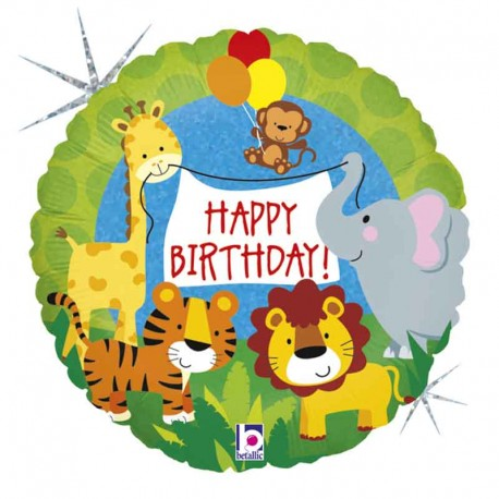 "Globos foil 18"" Birthday Animales Jungla"