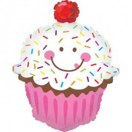 "Globos Foil 31"" (79Cm) Cupcake Sonriente"