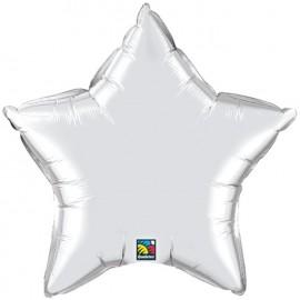 """Globos de foil Estrella de 36"""" Plata"""