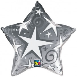 "Globos de foil Estrella de 36"" Starblast Plata"