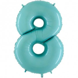 "Globos Foil 26"" (66cm) Numero 8 Azul Pastel"