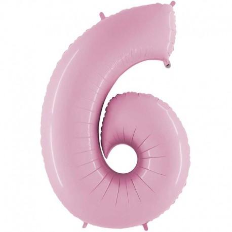 "Globos Foil 26"" (66cm) Numero 6 Rosa Pastel"