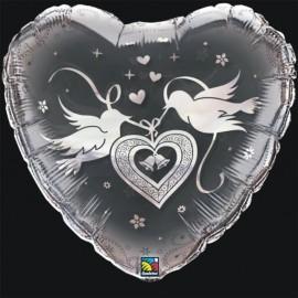 "Globos de foil de 24"" Corazón palomas Plata cristal qualatex"