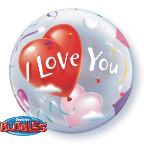 "GLOBOS FOIL 22"" BUBBLES I LOVE YOU"