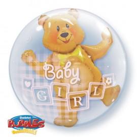 """Globos de 24"""" Bubbles doble Baby Girl"""