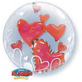 """Globos de foil de 24"""" Bubbles doble Corazones flotantes"""