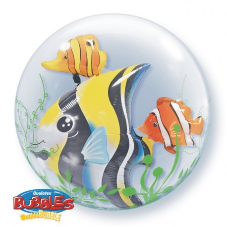 "GLOBOS FOIL 24"" BUBBLES DOBLE PECES TROPICALES"