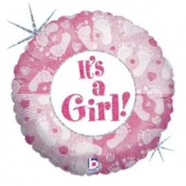 """GLOBO FOIL 36"""" IT´S A GIRL PISADITAS"""