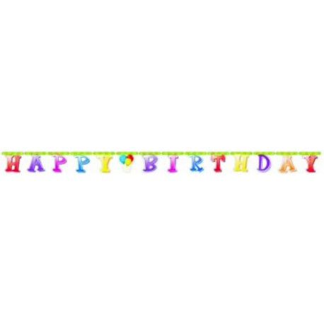 Banner happy bday globos