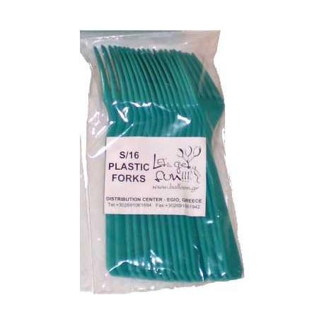 tenedores de plastico turquesa 16uni
