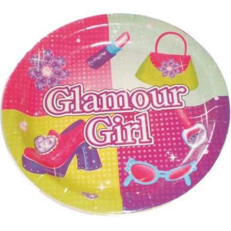 Platos redondos 17,5 cm glamour girl 8uni