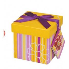 Caja de regalo extra pequeña (10,3 x 10,3 x 9,8) amarilla
