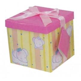 Caja de regalo mediana (15,4 x 15,4 x 15) rosa y elefantes