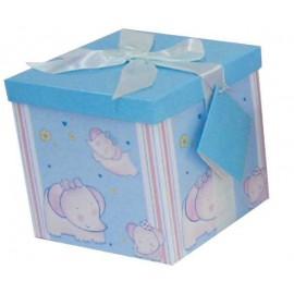 Caja de regalo grande (17,5 x 17,5 x 17) azul y elefantes