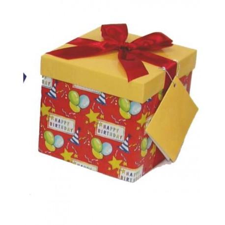 Caja de regalo pequeña (12,8 x 12,8 x 12,2) globos y estrellas