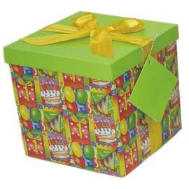 Caja de regalo grande (17,5 x 17,5 x 17) tarta y fiesta