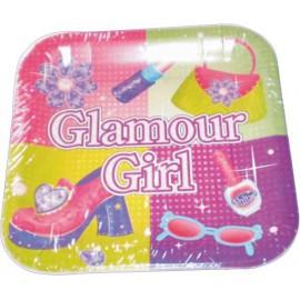 Platos cuadrados 22 cm glamour girl 8uni