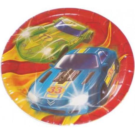 Platos redondos 17,5 cm coches de carreras 8uni