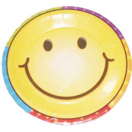 Platos redondos 17,5 cm carita sonriente 8uni