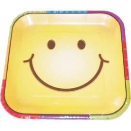 Platos cuadrados 22 cm carita sonriente 8uni