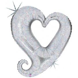 """Globos de foil corazones 37"""" holográficos Plata"""